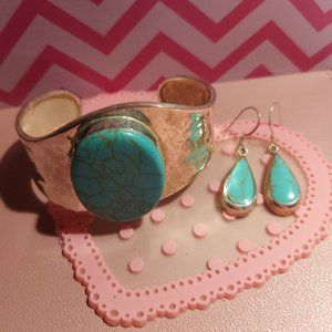 Silver and Turquoise Earrings and Bracelet